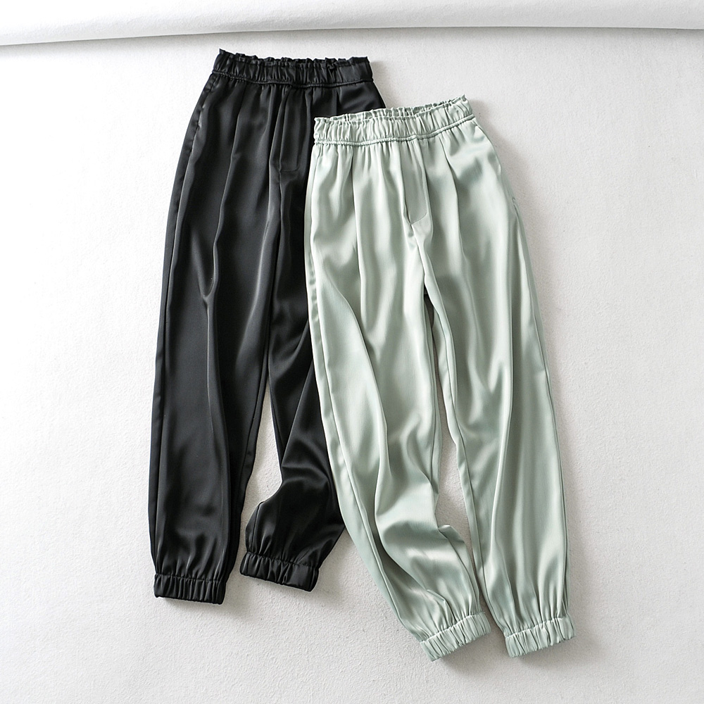 2020 New Women Fashion Solid Satin Jogging Pants Female Chic Leisure Trousers Elastic Wasit Casual Slim Ankle Length Pants P619