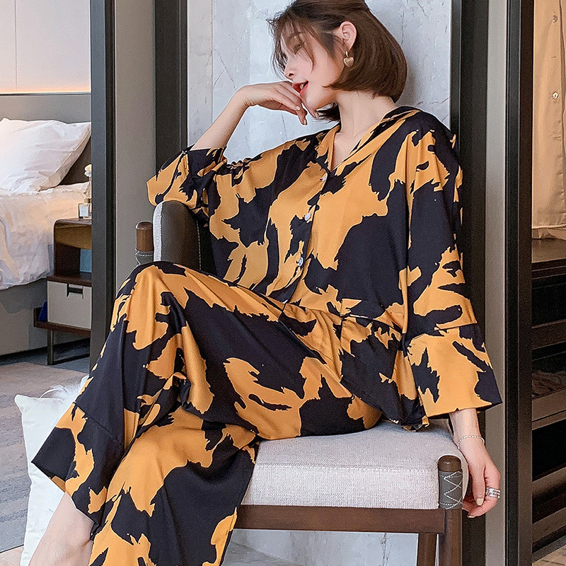 2021 New pyjamas loungewear Sleepwear silk Women's home clothes two piece sets nighty for ladies Long Sleeve Sleeping Shirt