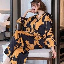 2021 nowe piżamy loungewear bielizna nocna jedwabne damskie ubrania domowe zestawy dwuczęściowe koszulka nocna dla pań z długim rękawem