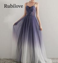 Rubilove 2019 new banquet elegant dress host female long tube top strap small ladies annual meeting performance purple