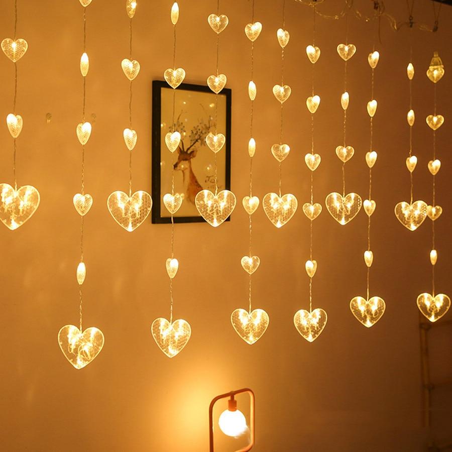 Thrisdar 2.5M Heart Shaped Curtain Fairy String Light Christmas Heart Garland Light Christmas Party Wedding Window Icicle Light
