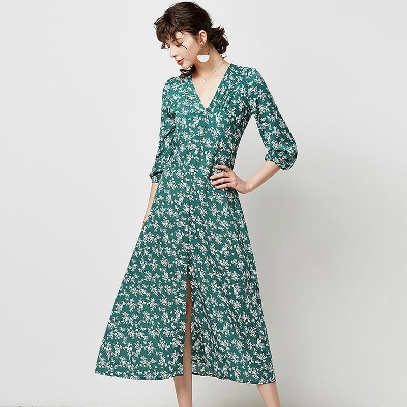 Autumn Elegant Floral Print Midi Dress Women 19 V Neck Button Casual Tunic Shirt Dress Lantern Sleeve Split Boho Long Dress 9