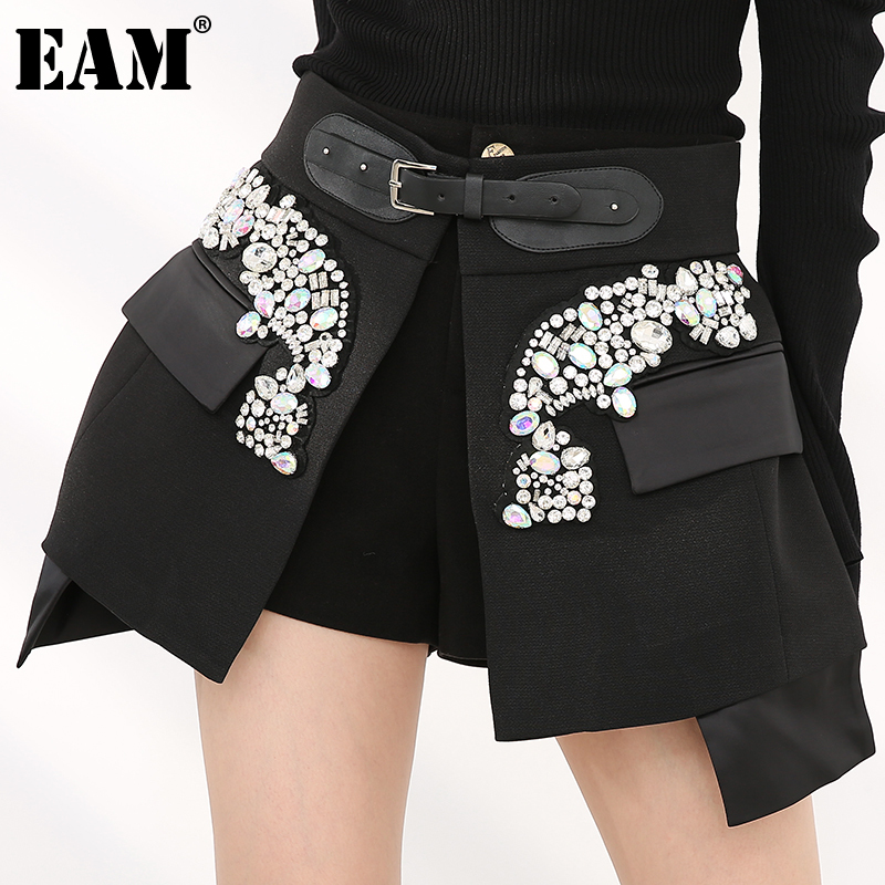 [EAM] High Waist Rhinestones Irregular Temperament Mini Half-body Skirt Women Fashion Tide New Spring Autumn 2021 JY75801