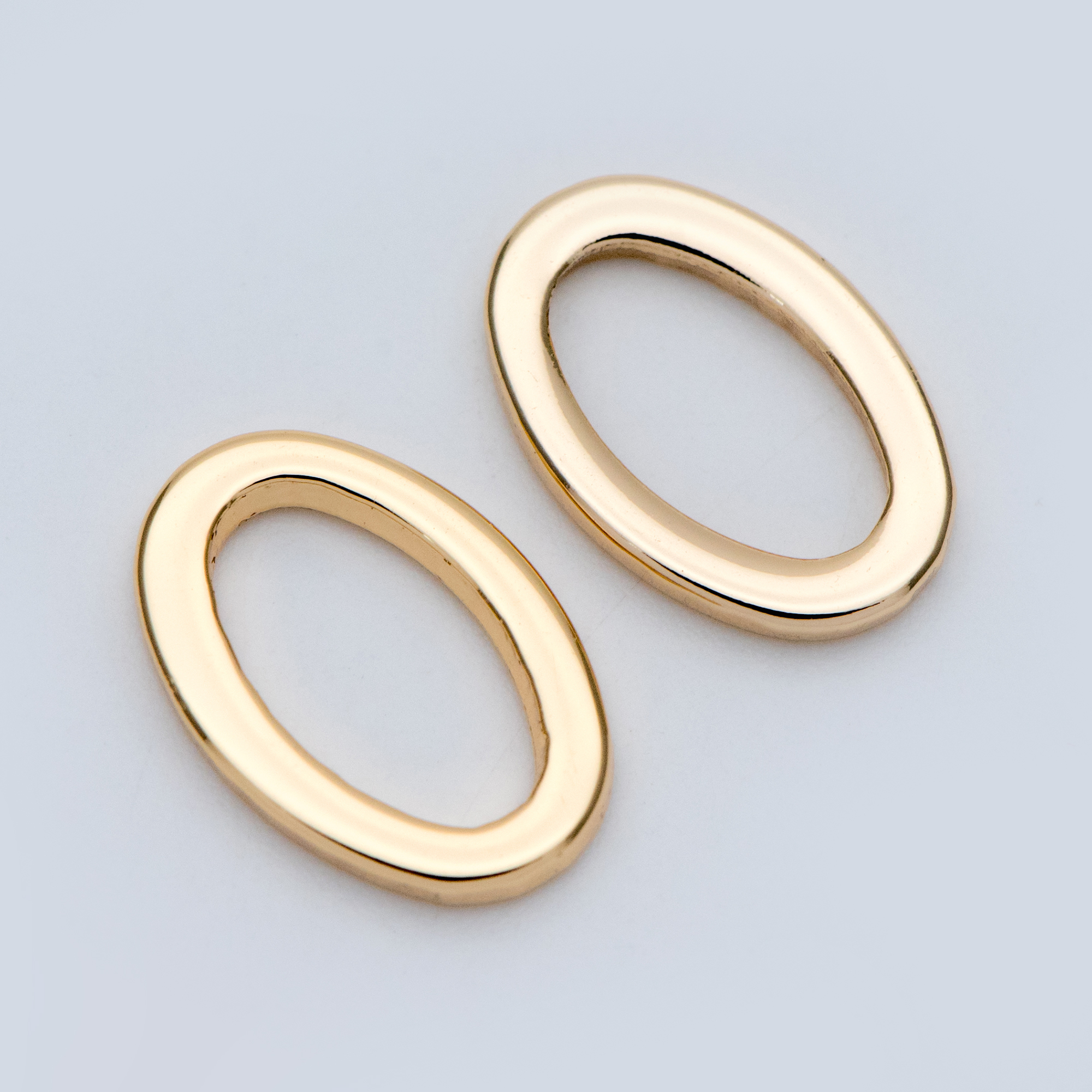 25 Oval Linking Rings Large Brass Connnector Rings Silver Tone 16mm x 9mm