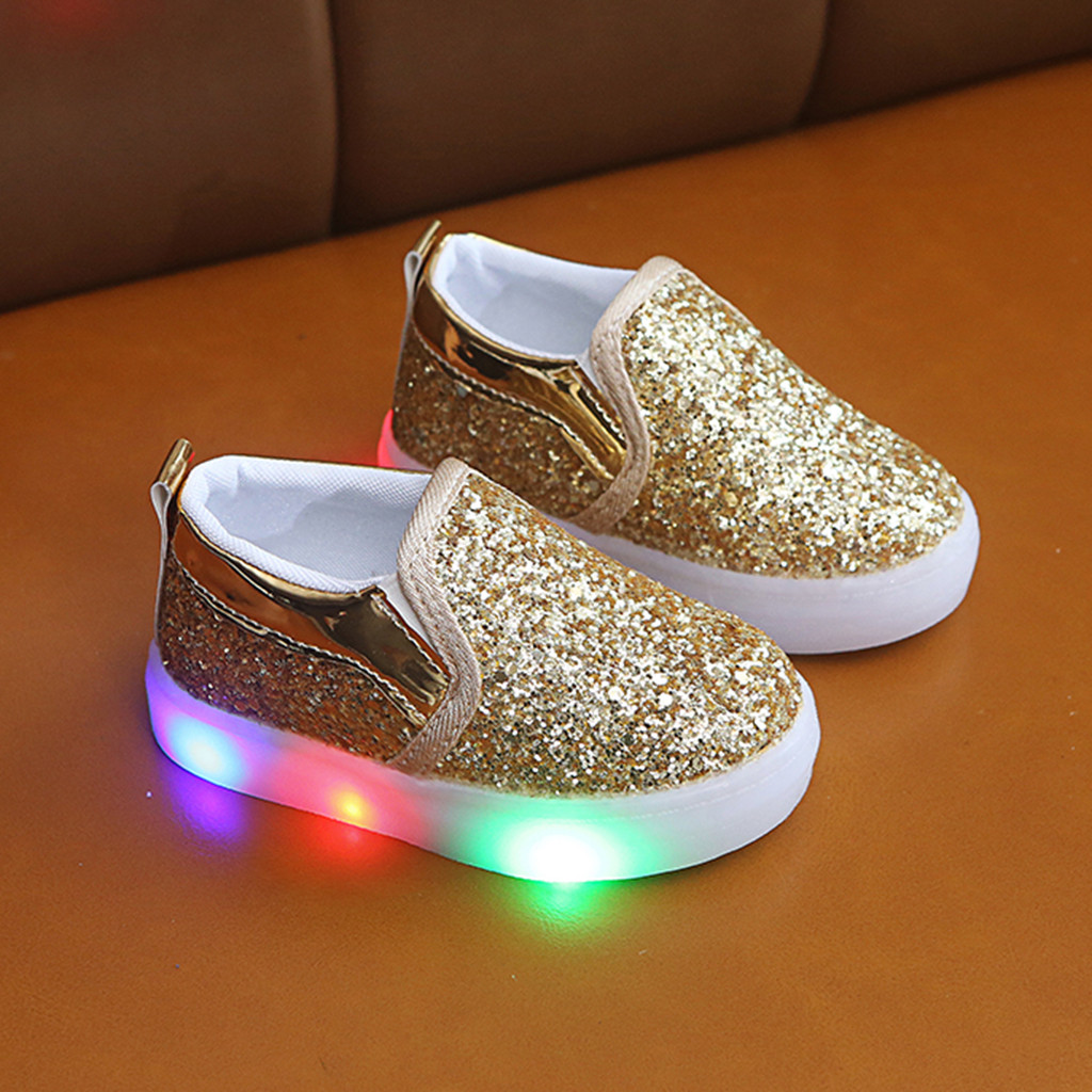 LED Kids Sneakers Children Kid Baby Girls Boys Star Flat Luminous Sport Sneaker Shoes Slip-On Baby Sneakers Light Up Shoes