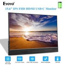 Портативный игровой монитор EYOYO EM15S, экран 1920x1080 FHD IPS 15,6 дюйма HDMI USB C, дисплей для ноутбука, ПК, перезаряжаемая батарея 5000 мАч