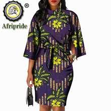 AFRIPRIDE – robe africaine en pur coton avec nœud en batik pour femme, tenue à col rond, imprimé ankara, en cire, personnalisée, S1825092, 2020
