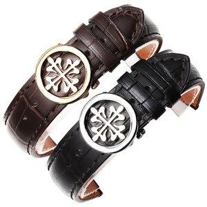 Кожаный браслет подходит для наручных часов patek philpe, ремешок из коровьей кожи, ремешок для часов с цепочкой, складные пуговицы из розового зо...