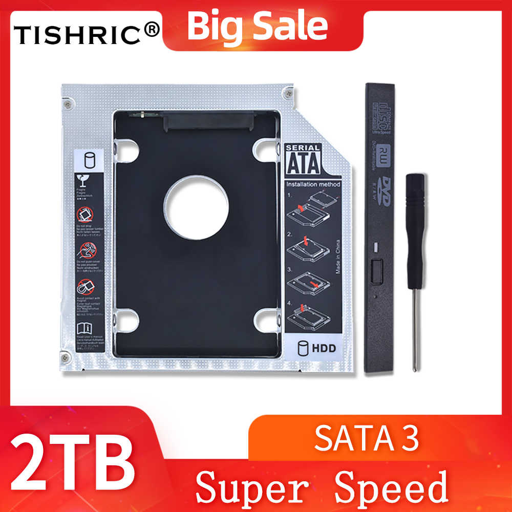 TISHRIC 2. HDD Caddy 9.5mm/12.7mm Optibay SATA 3.0 obudowa HDD/obudowa Adapter DVD HDD dysk twardy do 2.5 ''SSD 2TB do laptopa