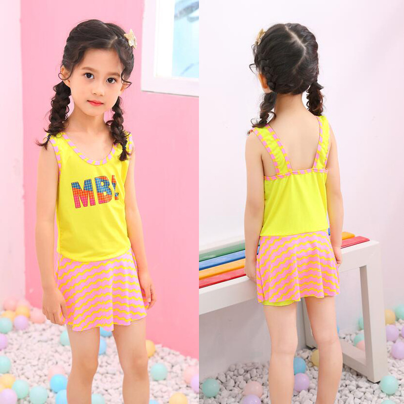 KID'S Swimwear Baby Girls 2-6-Year-Old 2019 New Style Korean-style Stripes Sporty Young STUDENT'S One-piece Swimwear