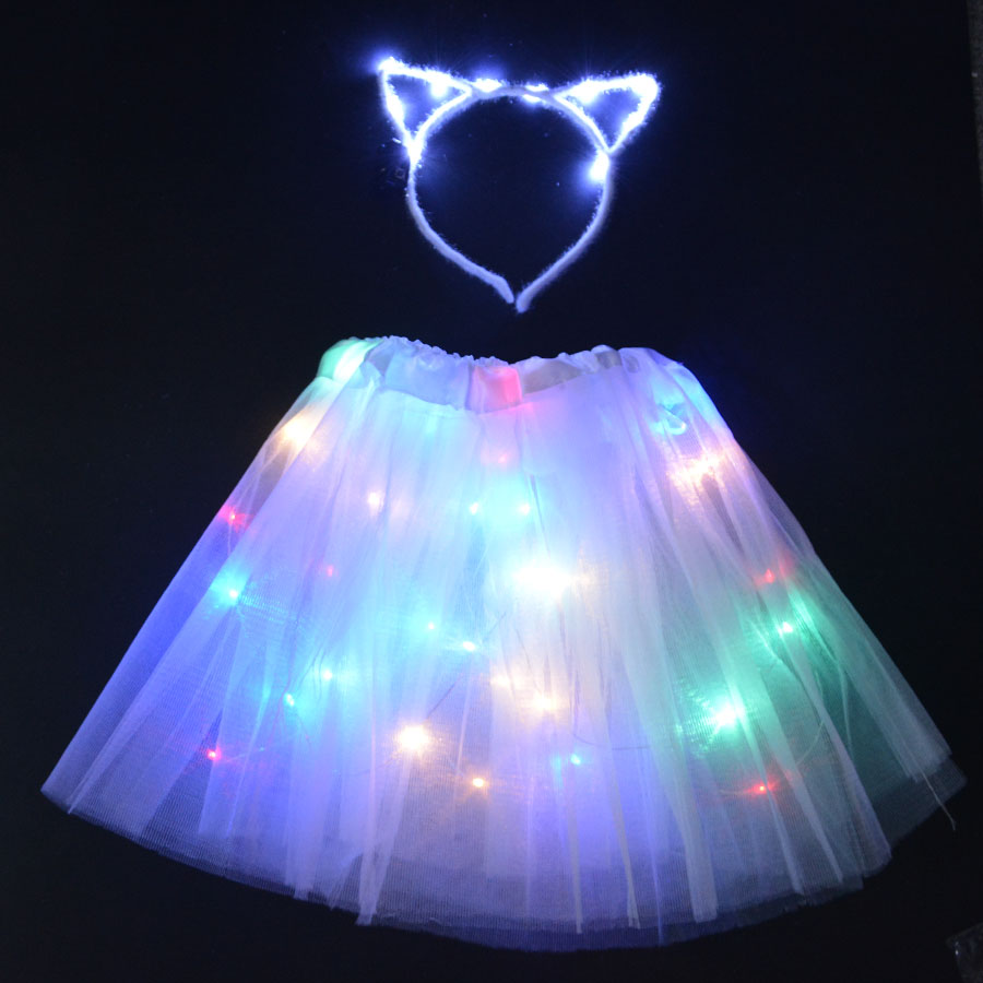 LED Glowing Light Kids Girls Princess Tutu Dresses Children Clothing Wedding Party Headband Headwear  Crown Cat Costume Cosplay