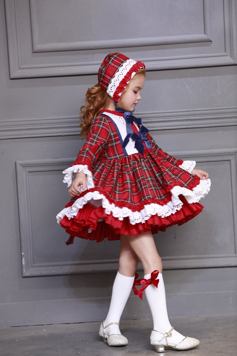 3 pçs bebê menina outono inverno xadrez do vintage espanhol pompom bola princesa vestido lolita festa de natal vestido com chapéu calças meias