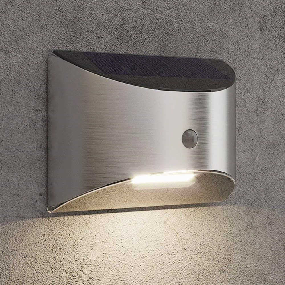 LED Solar Light Outdoor Wall Lamp For Garden Patio Pathway Fence Stairs Stainless Steel With Motion Sensor 2pcs Dropshipping