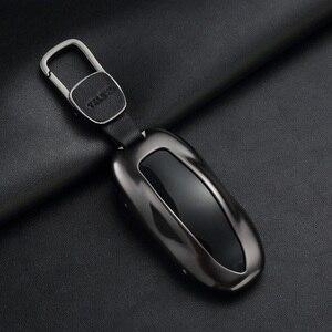 Image 1 - 1Pcs Autosleutel Case Cover Met Riem Aluminiumlegering Sleutel Shell Opbergtas Protector Voor Tesla Model S Model 3 Model X