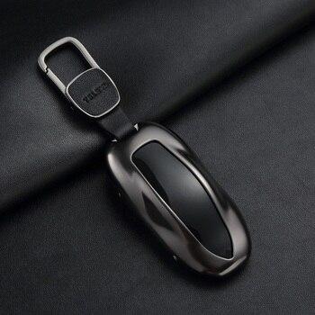 1Pcs  Car Key Case Cover with Belt Aluminum Alloy Key Shell Storage Bag Protector for Tesla Model S Model 3 Model X