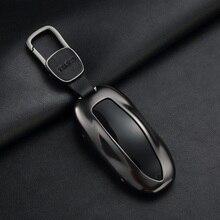 테슬라 모델 S 모델 3 모델 x에 대 한 벨트 알루미늄 합금 키 셸 스토리지 가방 수호자와 1Pcs 자동차 키 케이스 커버