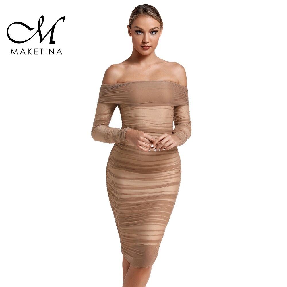 Maketina robe Bandage brun 2019 nouvelle épaule à manches longues en mousseline de soie robe moulante femmes Sexy moulante robe de Club de fête