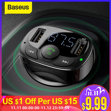 Cargador en coche Baseus Dual USB con transmisor FM Bluetooth manos libres FM modulador teléfono cargador en coche para iPhone Xiaomi HUAWEI