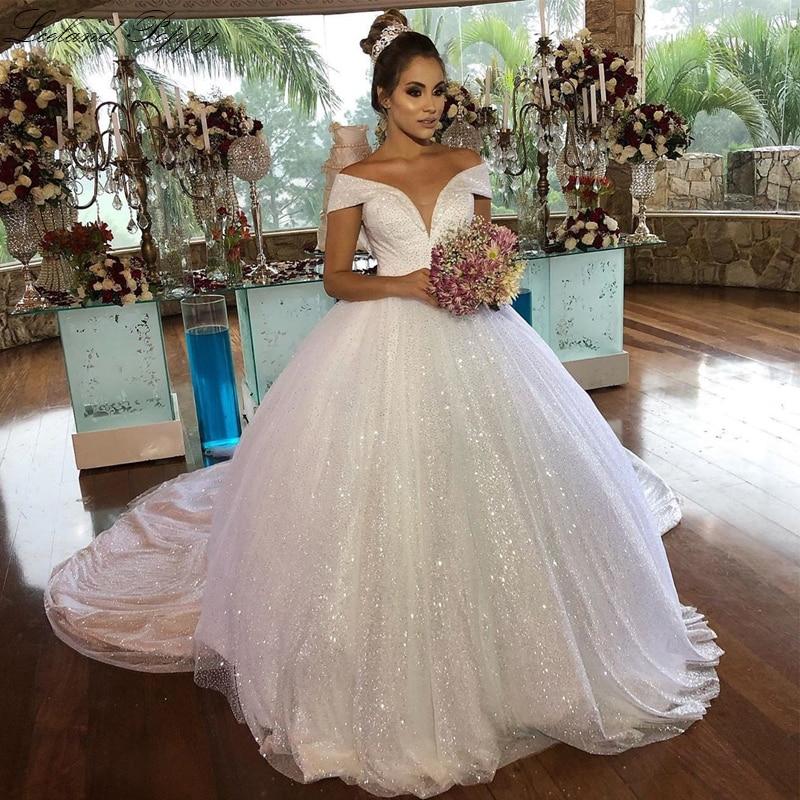 Luxury Women's Shiny Ball Gown Wedding Dresses 2019 Off Shoulder Floor Length Tulle Bridal Dress Vestido De Noiva Chapel Train