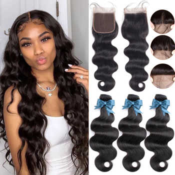 BEAUDIVA Brazilian Hair Body Wave 3 Bundles With Closure Human Hair Bundles With Closure Lace Closure Remy Human Hair Extension - DISCOUNT ITEM  56% OFF All Category