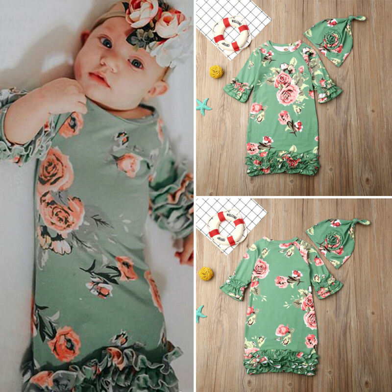 Emmababy Flower Baby Sleeping Bags Autumn Spring Newborn Infant Blanket Swaddle Wrap Gown 2PCS Outfits