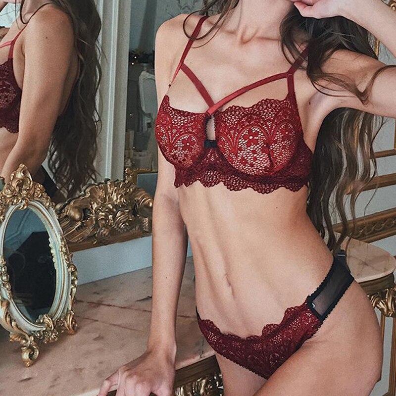 Sexy Women Bra Lace Transparent Unlined Bralette Wire Free Thin Mesh Panties Underwear Women Push Up Lingerie Set 2019