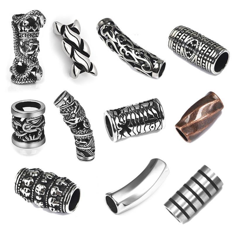 Stainless Steel Charms Tube Beads 8mm Leather Cord for Bracelet Auspicious Clouds Slider Charms DIY Jewelry Makings Accessories