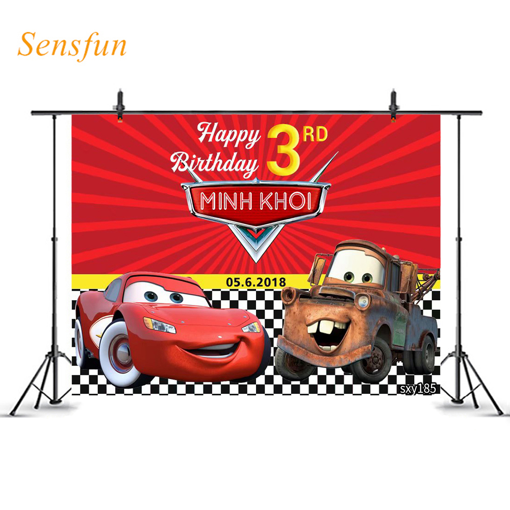 LEVOO fondo personalizado Tema de dibujos animados Cars niños cumpleaños fotografía para fiesta telón de fondo fotográfico accesorios de estudio fotográfico photooth