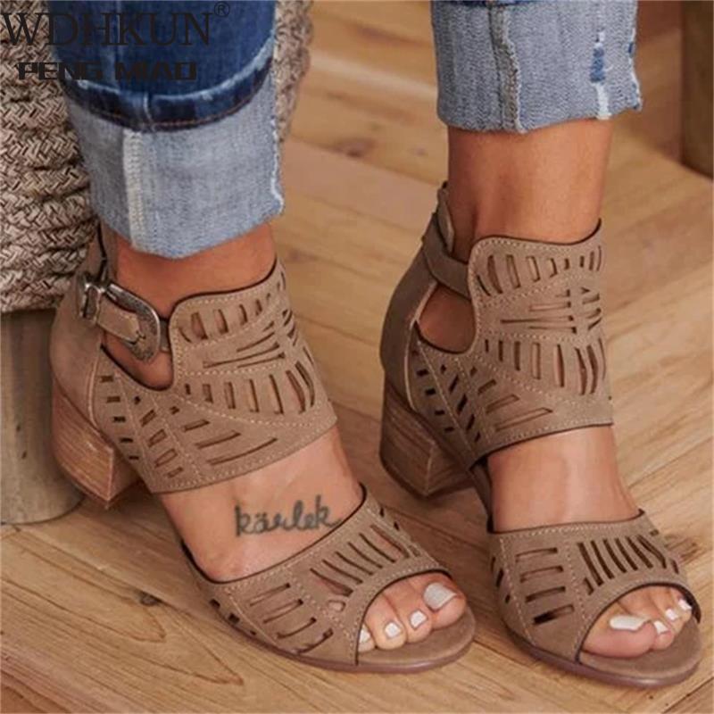 Vintage Hollow Out Sandals Mid Heel Summer Slip-on Buckle Ladies Shoes Artificial Open Toe Casual Wedding Pumps Women Sandalias