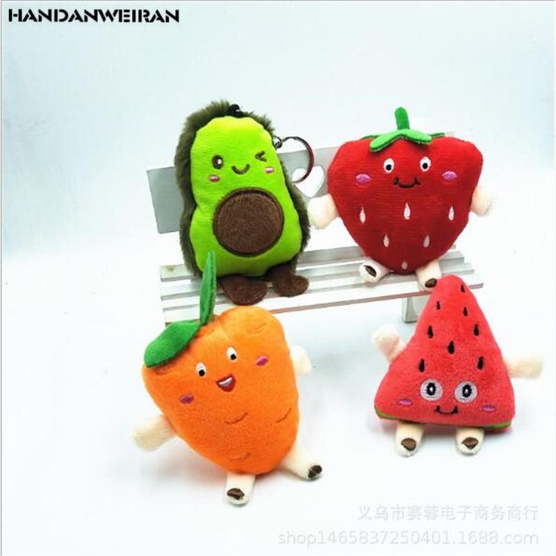 Stuffed Toy Avocado Fruits Plush Plant Toy Kawaii Cartoon Cute Mini Carrot Strawberry Girls Boys Doll Plush Stuffed Pendant Gift