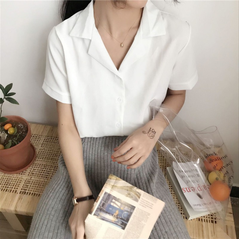 White Blouse Women Casual Solid Color Loose Tops Fashion Simple Short Sleeve Lapel Shirt