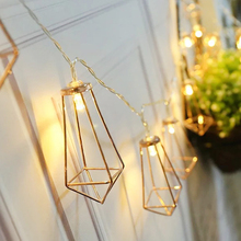 House Courtyard  Decorative Light String Rose Gold Metal Diamond Model USB 10LED Christmas Day Lantern