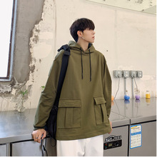 New Hoodies Men Fashion Solid Color Casual Large Pocket Hooded Pullover Man Streetwear Wild Hip Hop Loose Tooling Sweatshirt