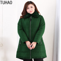 TUHAO PLUS Size 10XL 9XL 8XL Women Winter Jacket Coats Ladies Warm Cotton Padded Outwear Winter Jacket Women Coat Parkas WM32