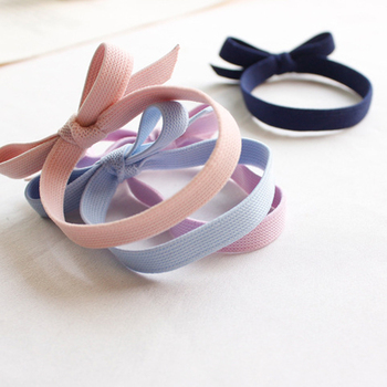 1Pcs 3 Colors Elastic Hair Bands Pink Flat Bow High Elasticity Women Girls Hairband Children Rubber Band kids Strong Elastic image
