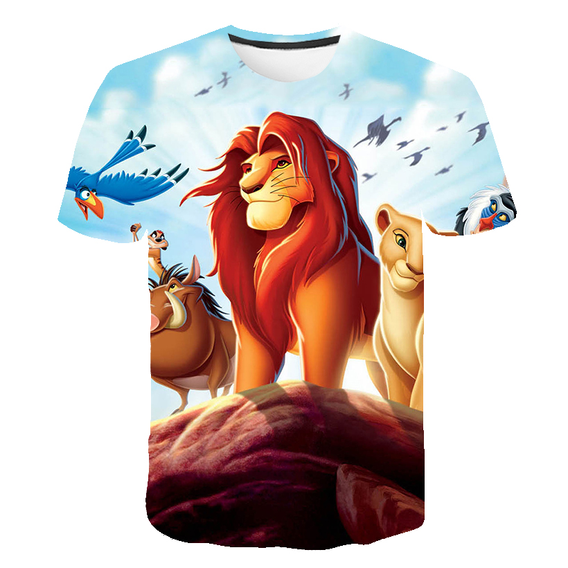2020 Hot Sale 3d Lion King Anime T-shirt Children's Clothing  Kids Clothes T Shirt Print Summer Boys Clothes Streetwear Tops