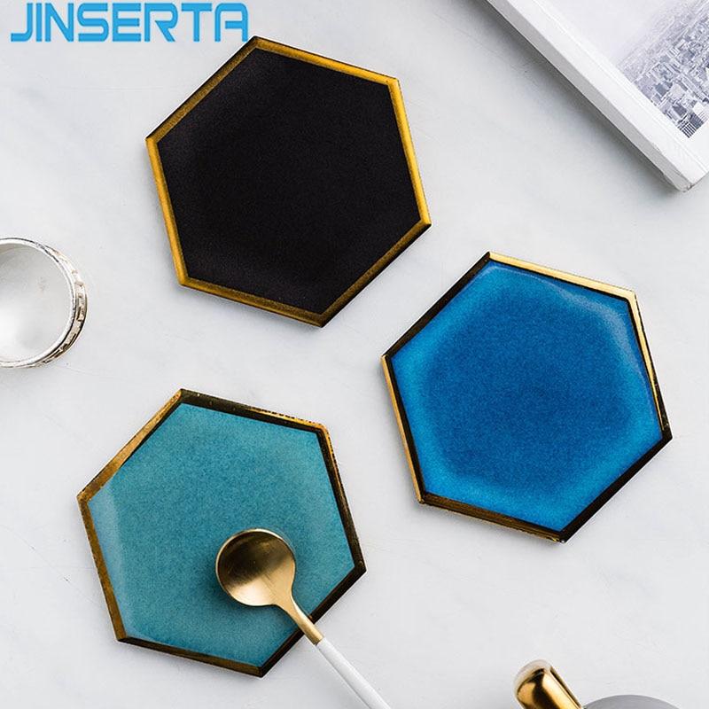 Jinserta Ceramic Serving Tray Tea Coffee Cup Tray Hexagon Bowl