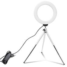 6 cal Mini Selfie lampa pierścieniowa pulpit lampa LED lampa wideo z statyw na telefon klip dla YouTuber fotografia fotografia Studio