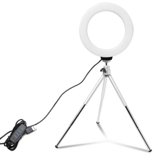 6 inch Mini Selfie Ring Light Desktop LED Lamp Video Light With Tripod Phone Clip For YouTuber Photo Photography Studio
