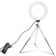 Mini anillo de luz LED para Selfie de 6 pulgadas, lámpara de vídeo de escritorio con trípode, Clip para teléfono para estudio de fotografía de YouTuber
