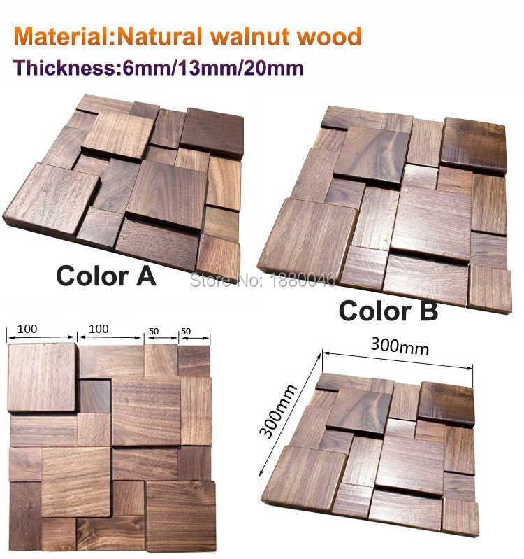 11pcs Pack Natural Walnut Wood 3d Wall Panels 3d Wall Tiles Square Wall Wood Mosaic Art Wall For Restaurant Decorative Aliexpress