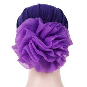 Image 5 - Helisopus Women New Muslim Pure Color Turban Big Ladiess Headband Ladies Elastic Headwear Covers Hair Accessories