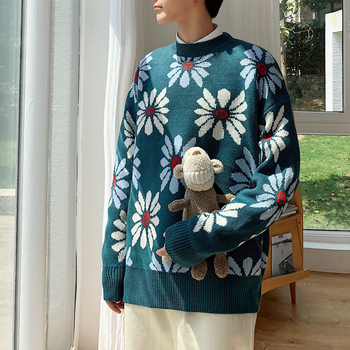 Men's sweater 2019 autumn and winter new loose thick flower sweater couple student sweater young people fashion men's clothing children s garment autumn and winter fashion sweater suit sweater dress skirt sweater 2 pieces set kids clothing