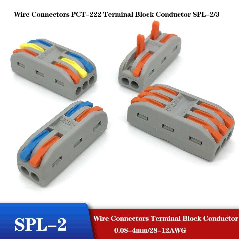 10 100PCS Wire Connectors PCT 222 Terminal Block Conductor SPL...