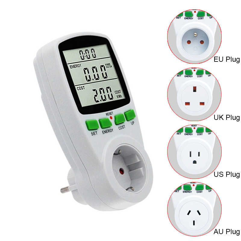 LCD Digital Wattmeter Energi Meter Watt Power Meter Watt Listrik KWh Mengukur Outlet Power Analyzer Uni Eropa US AU UK FR plug