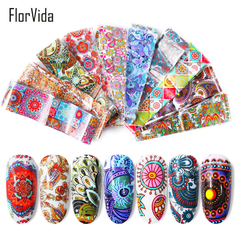 Florvida Nail Foil Non-sticky Decoration Colorful Laser Christmas Flower Gold Silver for Nails