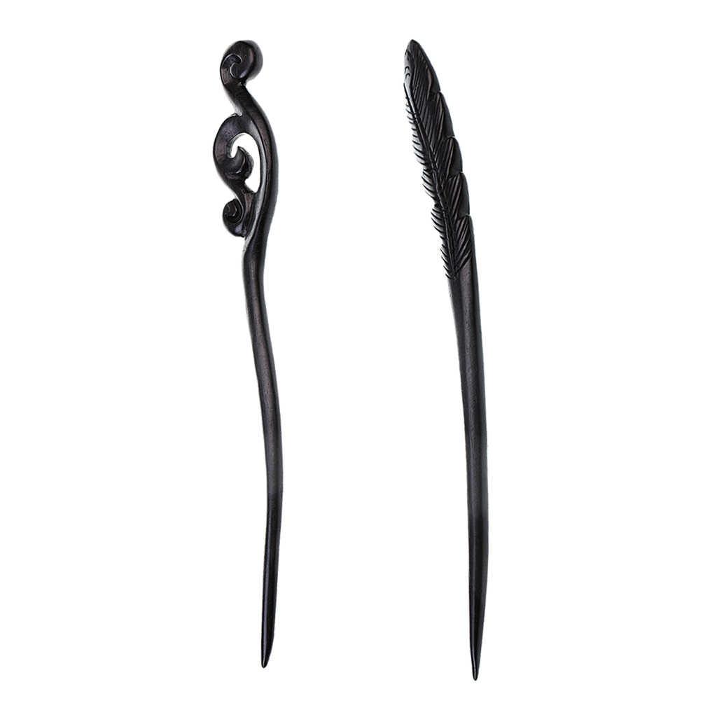 2 шт. винтажная женская заколка ручной изделия из резного черного дерева броши на шаль китайские палочки для волос элегантные
