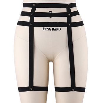 Sexy Bondage Leg Harness Garter Belt Women Black Body Cage Goth Rave Stockings Wedding Rivet Garter Harajuku Body Harness