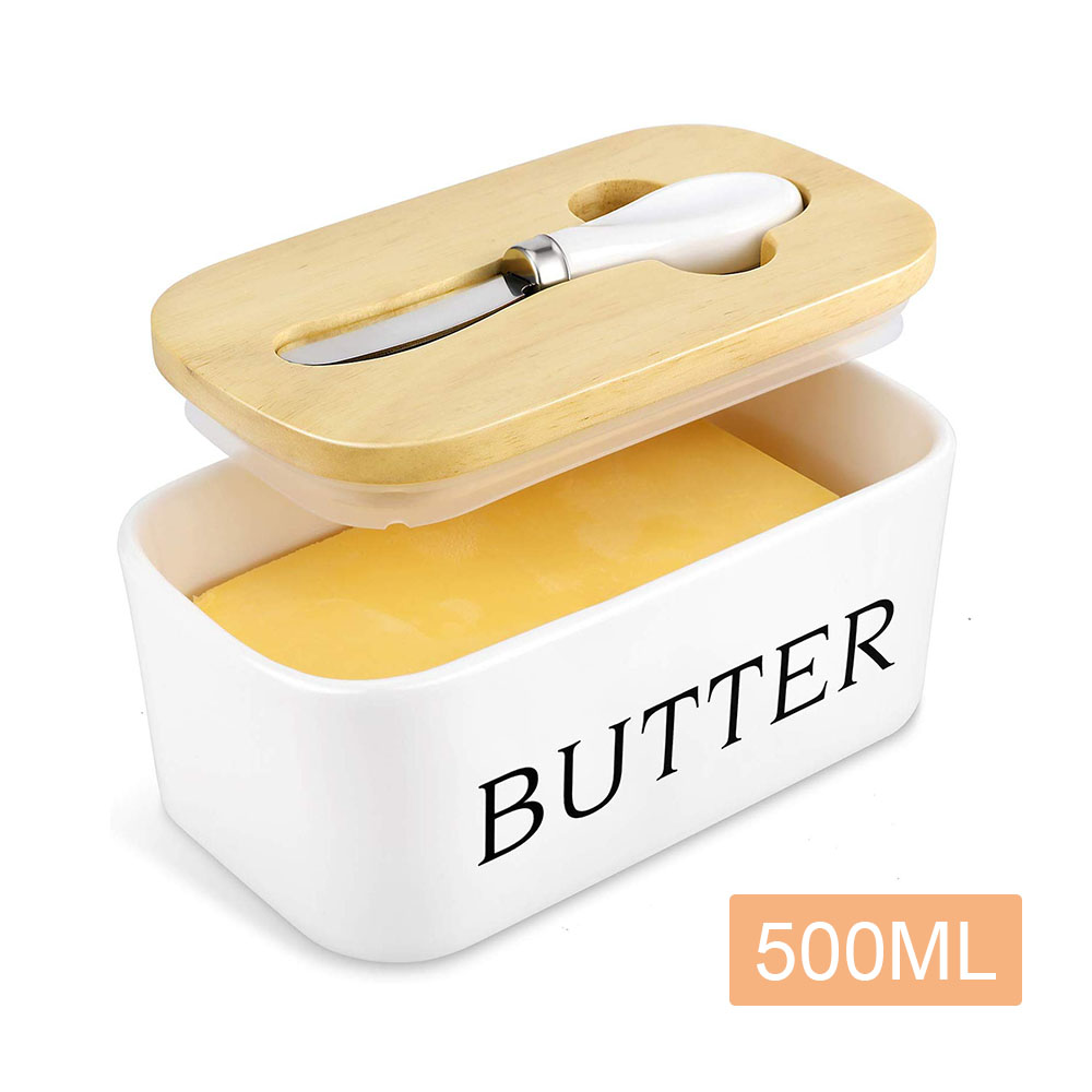 Butter-Box Container Knife Tray-Plate Keeper-Tool Cheese-Storage Wood-Lid Ceramic Kitche