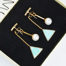 Korean fashion  Pearl triangle painting oil geometric shape hanging earings jewelry boho trendy earrings